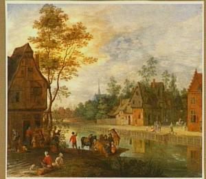 Gezicht in een dorp aan een rivier