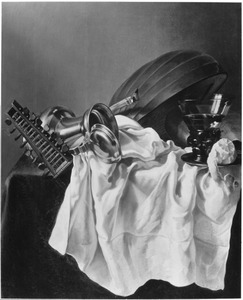 Stilleven met een luit, Jan Steen-kan, roemer en citroen op een wit dek