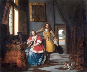 Interieur met een vrouw aan haar toilet en een man die zijn hoed afneemt