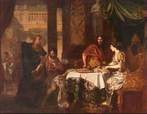 Koningin Ester beschuldigt Haman in het bijzijn van koning Ahasveros