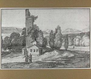 Heuvellandschap met ruïne en figuren