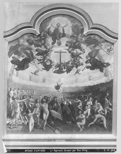 Het laatste oordeel en het zevende werk van barmhartigheid: het begraven van een dode