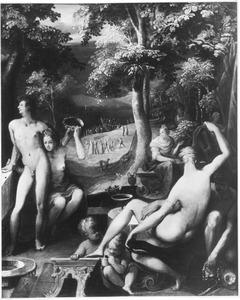De mensheid voor de zondvloed met in de achtergrond de bouw van de ark van Noach