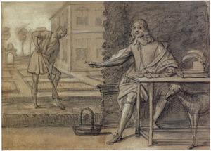 Zittende man achter een tafel met tulpenbollen en een tulpenboek, wijzend  naar een bollen plantende man in de tuin van een landhuis