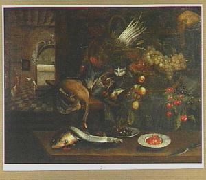 Keukenstilleven met in de achtergrond Christus met Maria en Martha