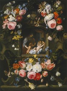Madonna met Kind en putti in een interieur achter een raam, omgeven door drie bloemtrossen