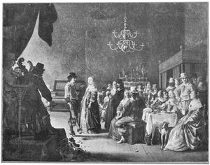 Elegant gezelschap aan een banket, met muzikanten en een dansend paar in een interieur