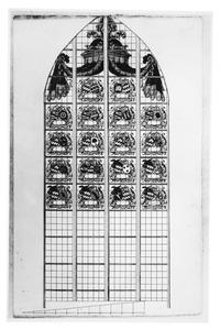 Kerkraam met heraldische wapens in de Slingelandtkapel, in de Grote Kerk te Dordrecht