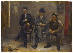 Kunstbeschouwing (met van links naar rechts de schilders Eduard Frankfort, Hobbe Smith, H.J. Bosch)