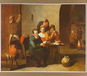 Kaartspelend gezelschap in een herberg