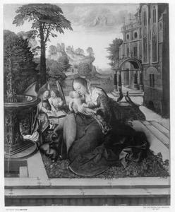 Maria met kind bij een fontein