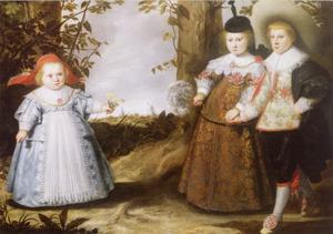Portret van Jacob (1627-....), Elisabeth (1629-1678) en Cornelia Francken (1633-...)