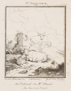 Landschap met een ruïne, runderen, schapen en een herder