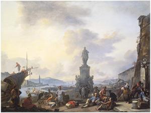 Zuidelijke haven met talrijke figuren