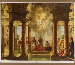 Interieur van een klassiek bouwwerk met een voorstelling van de Poel van Bethesda (Johannes 5:3-4)