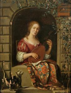 Luitspelende vrouw in een boogvenster