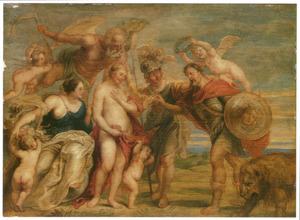 Allegorie op de vrede: Minerva, Wijsheid en Tijd verenigen Mars met de Venus