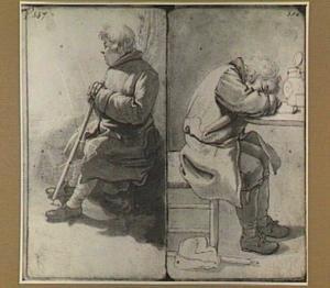 Twee zittende mannen, waarvan een slapend