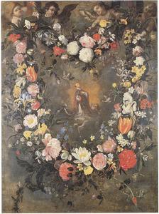 Bloemenkrans gedragen door engelen rondom een voorstelling van de H. Ignatius van Loyola