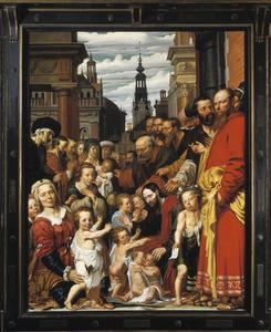 Portrait historié van Michiel Poppen (1573-1641) en zijn familie, met een zelfportret van Werner van den Valckert