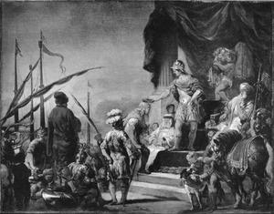 Aeneas kroont Cloanthus, de winnaar van de race op zee (Vergilius: Aeneis V, 244-267)