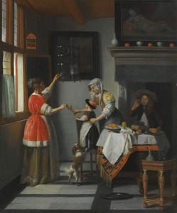 Interieur met drinkende man en twee vrouwen met een kind die een papgaai voeren