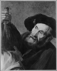 Een oude man met een baret en een stokbeurs