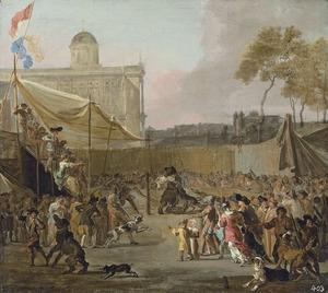 Gevecht tussen beren en honden op een plein, omringd door toeschouwers