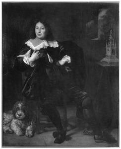 Portret van een man, mogelijk Joan Hulft (1610-1677), met een hond, zittend naast een tafel met daarop een klok
