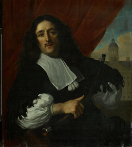 Portret van Michiel Servaesz. Nouts (1628-1693), klokkenist van de Stadhuiskoepel