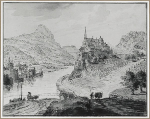 Berglandschap met rivier en bebouwing