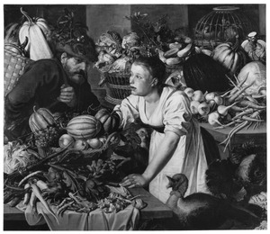Marktstuk met een vrouw en een man omringd door groente, fruit en gevogelte
