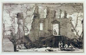 Kasteel (vermoedelijk Weert, bij Bunnik) na verwoesting door Franse troepen in 1673