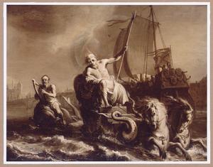 Neptunus die de zeëen bevaart met aan zijn zijde Arion op de dolfijn