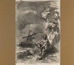 Figuur breekt het roer van een schip