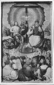 De H. Drieëenheid omgeven door engelen, heiligen en figuren uit het Oude Testament