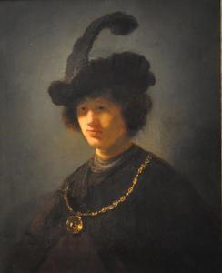 Borststuk van een jongeman met gepluimde baret