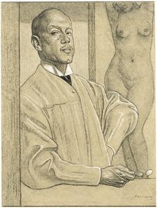 Zelfportret van Hendrik Johannes Haverman (1857-1928) met naakt