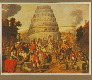 Nimrod bezoekt de bouw van de toren van Babel (Genesis 11:3-5)