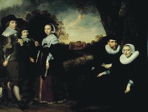 Familieportret van Eeuwout Eeuwoutsz. Prins (....-1636), Catharina Keyser (1597-1665) en hun kinderen  Anna Eeuwoutsdr. Prins (1619-1677), Eeuwout Eeuwoutsz. Prins (1622-1662) en Adriaen Eeuwoutsz. Prins (1625-1668)