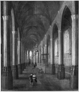 Interieur van de Nieuwezijdskapel te Amsterdam met fantasiegewelf