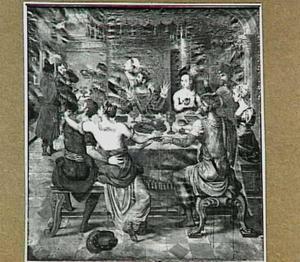 Belsassars richt een feest aan, waarop hij en zijn hof het gouden gerei uit de tempel van Jeruzalem ontheiligen (Daniel 5:1-4)