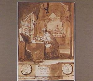 De Romeinse jurist en grammaticus Aulus Gellius, bij nacht het laatste hoofdstuk van zijn boek Noctes Atticae schrijvend