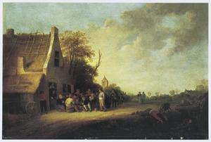 Landschap met groep figuren bij een herberg