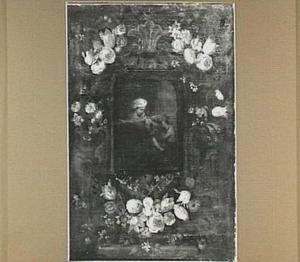 Bloemenkrans rond een cartouche met een uitbeelding van Maria met Christus en Johannes de Doper als kinderen