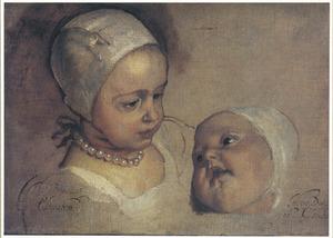 Studieportret van prinses Elizabeth en prinses Anne, twee dochters van Karel  I