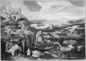 Bergachtig landschap met de boetvaardige H. Hieronymus
