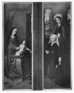 Maria met kind (links); de H. Maria Magdalena met Magdalena Cordier en haar dochter Cornelia (rechts)