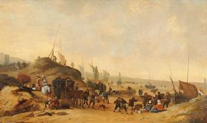 Strandgezicht met vissersvrouwen en een elegant reisgezelschap, de toren van Egmond aan Zee op de achtergrond