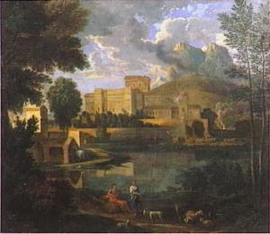 Italiaans landschap met herders